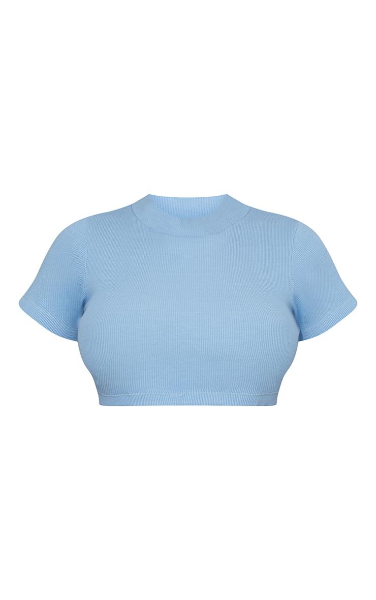 Baby Blue Rib High Neck Short Sleeve Crop Top 5