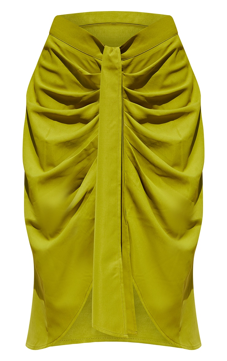Lime Foldover Button Through Midi Skirt 5