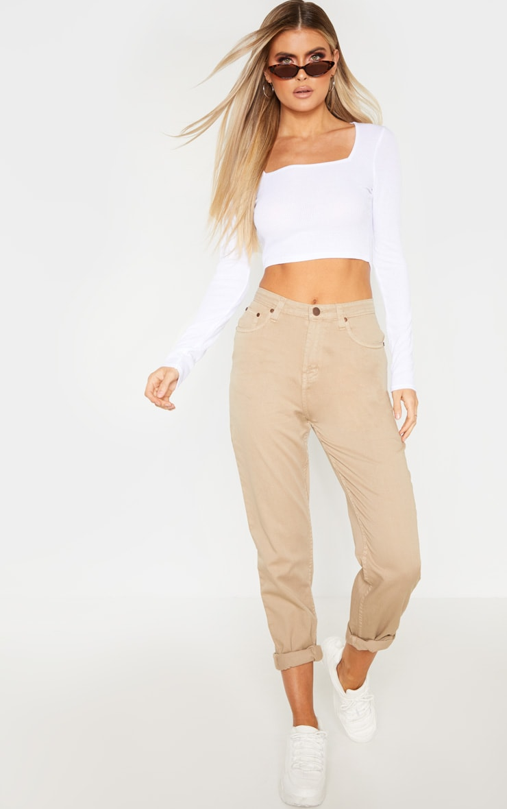 Tall White Square Neck Ribbed Long Sleeve Crop Top 4