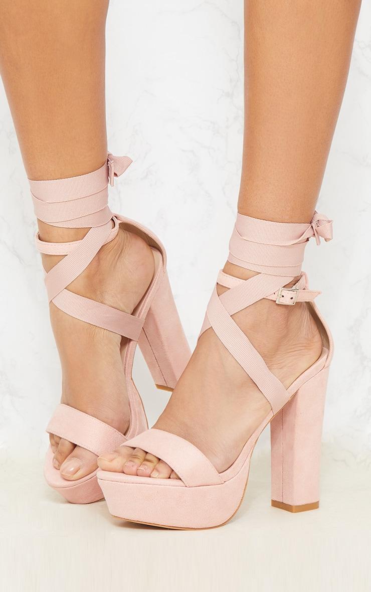 Nude Leg Wrap Platform Sandal 2