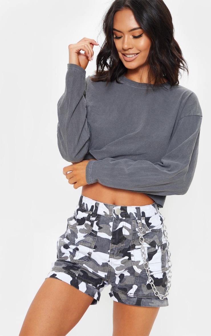 Grey Camo Utility Stitched Detail Denim Shorts by Prettylittlething