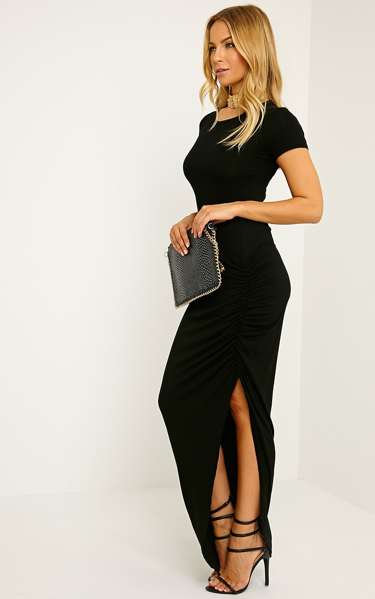 Basic Black Ruched Cap Sleeve Maxi Dress 4