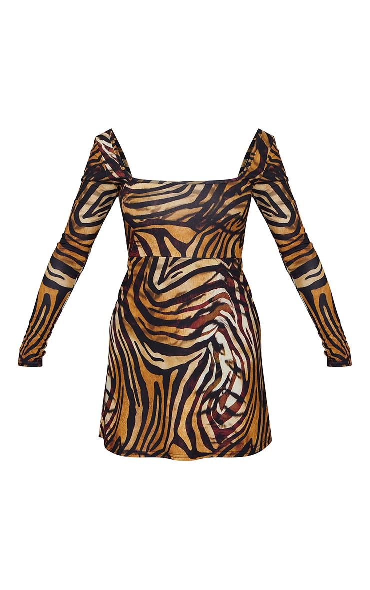Tan Tiger Print Long Sleeve Square Neck Shift Dress 5
