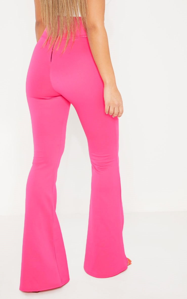 Pink Curve Waist Band Detail Flared Pants 4