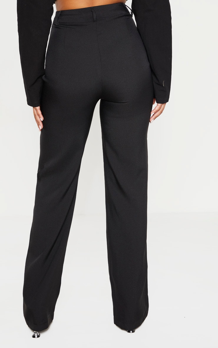 Petite Black High Waist Straight Leg Pants  4