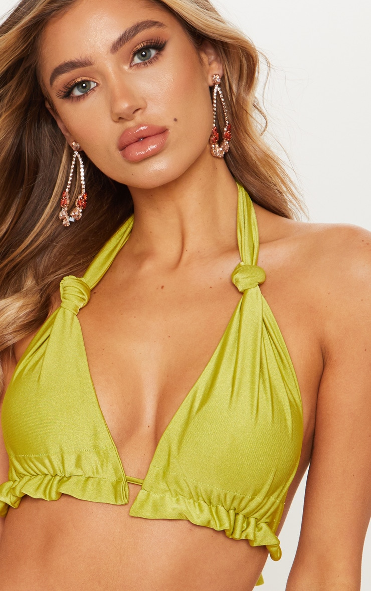 Olive Knotted Ruched Triangle Bikini Top 5