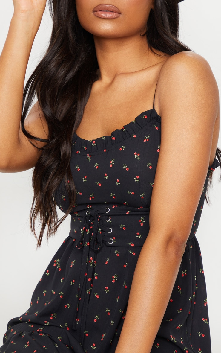 Black Ditsy Rose Print Corset Detail Bodycon Dress 4