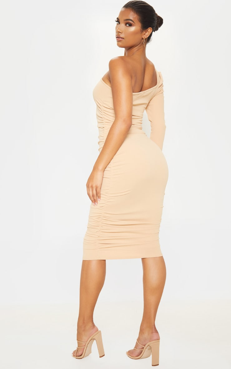 Stone One Shoulder Ruched Detail Midi Dress 2