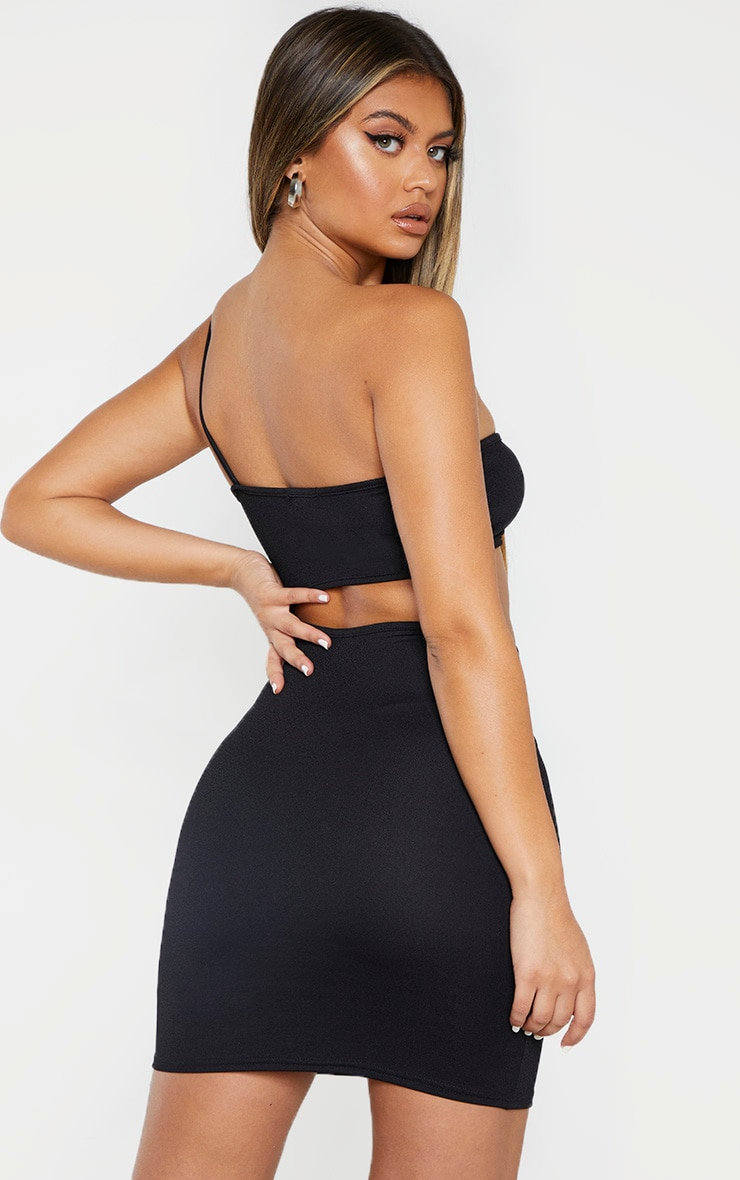 Black One Shoulder Waist Cut Out Bodycon Dress 2