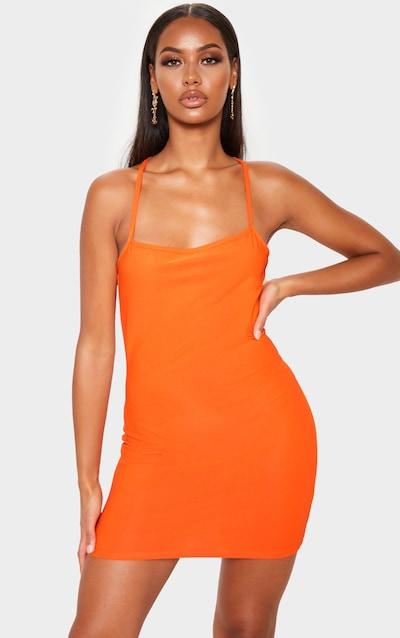 Orange Strappy Cross Back Bodycon Dress