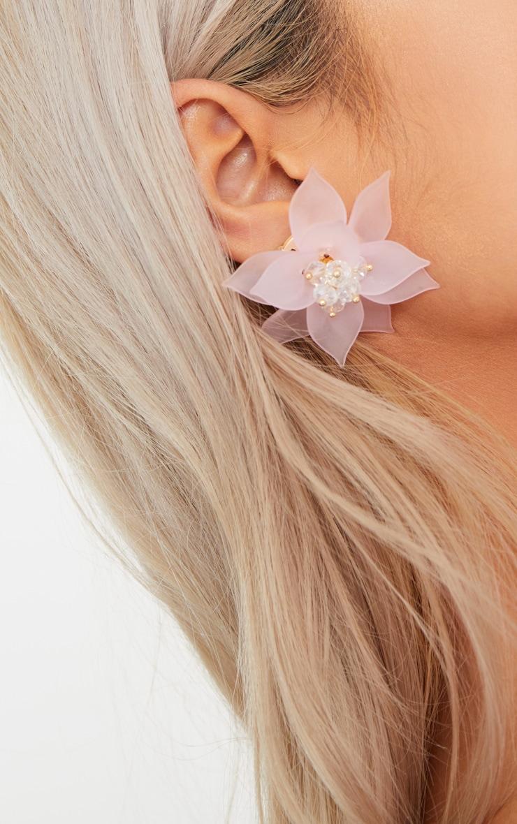 Pink Statement Floral Stud Earrings 4