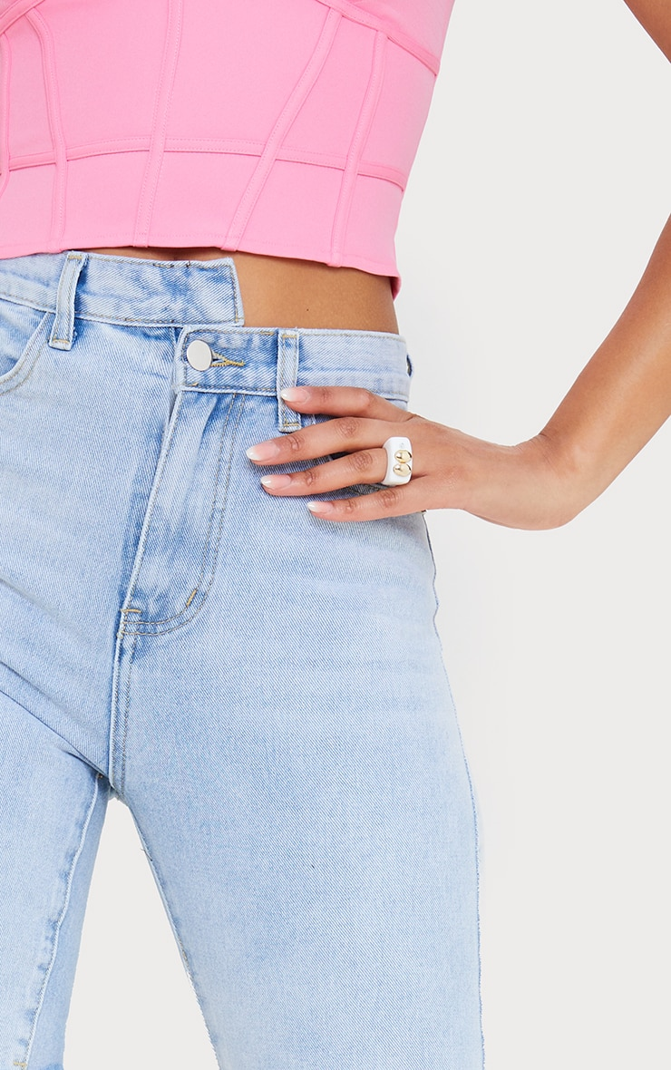 Light Blue Wash Asymmetric Waist Longline Denim Shorts 5