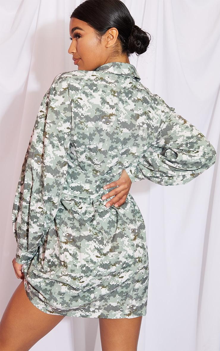 Khaki Pixilated Camo Plunge Waist Detail Long Sleeve Shift Shirt Dress 2