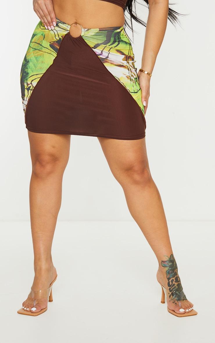 Shape Green Marble Print Panel Ring Detail Bodycon Skirt 2
