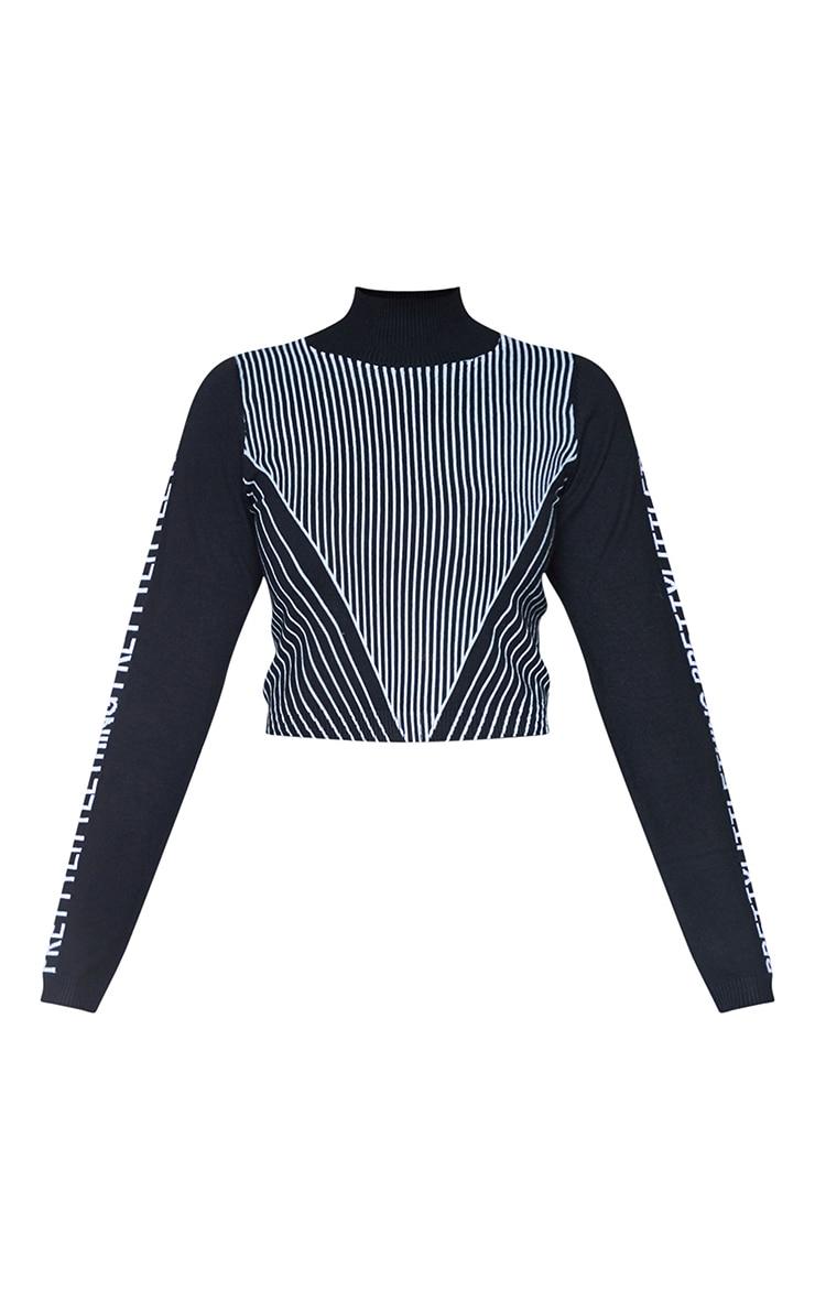 PRETTYLITTLETHING Black Sleeve Stripe Body Crop Sweater 5