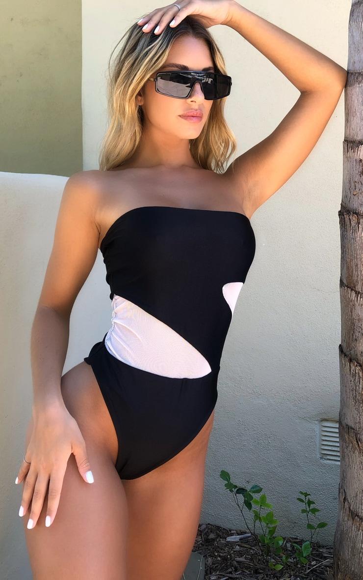 Black Cut Out Mesh Swimsuit