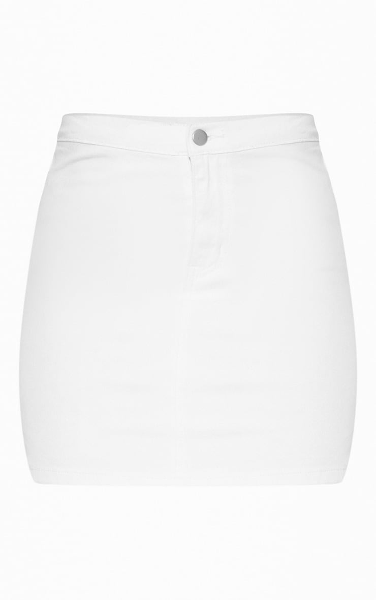 White Disco Fit Denim Skirt 3
