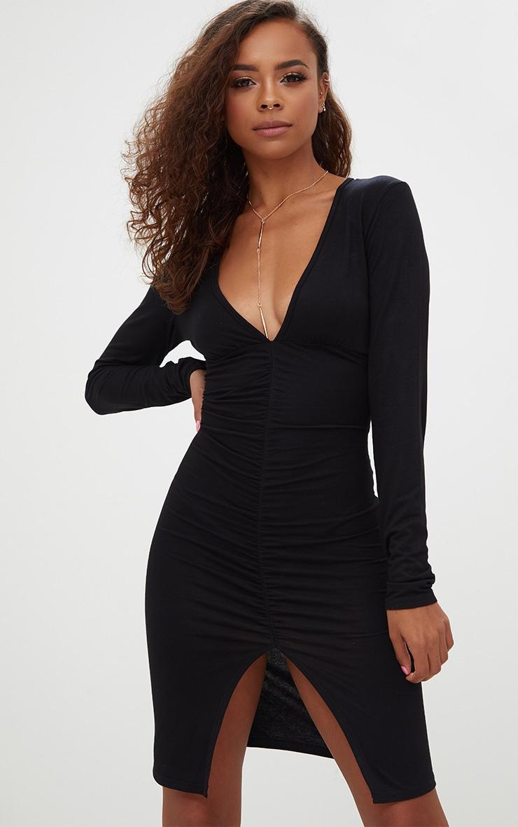 Petite Black Plunge Ruched Front Midi Dress 1