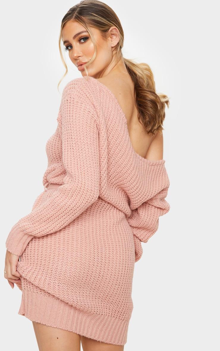 Blush Slash Neck Soft Belted Jumper Dress 2