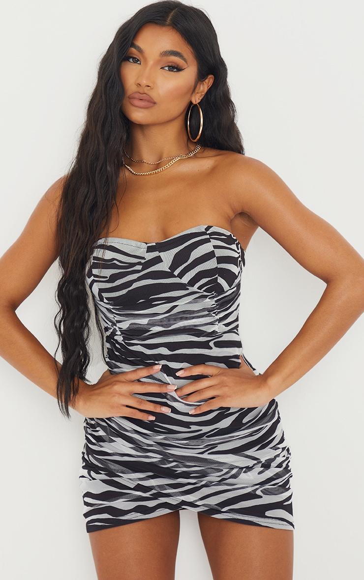 Monochrome Zebra Print Bandeau Ruched Bodycon Dress 1
