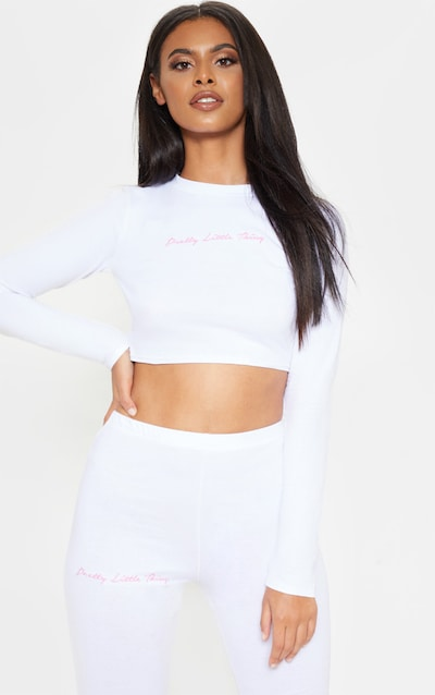6fea00cbb4b273 PRETTYLITTLETHING White Embroidered Long Sleeve Crop Top