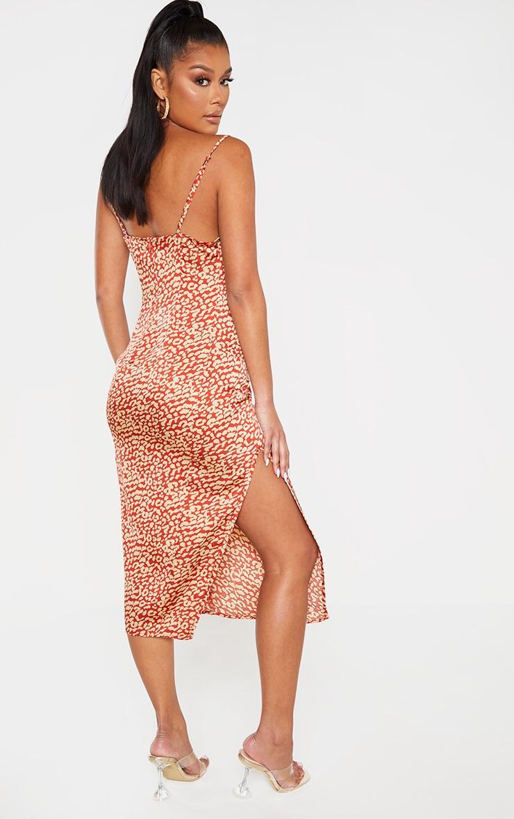 Multi Leopard Print Strappy Satin Cowl Midi Dress 2