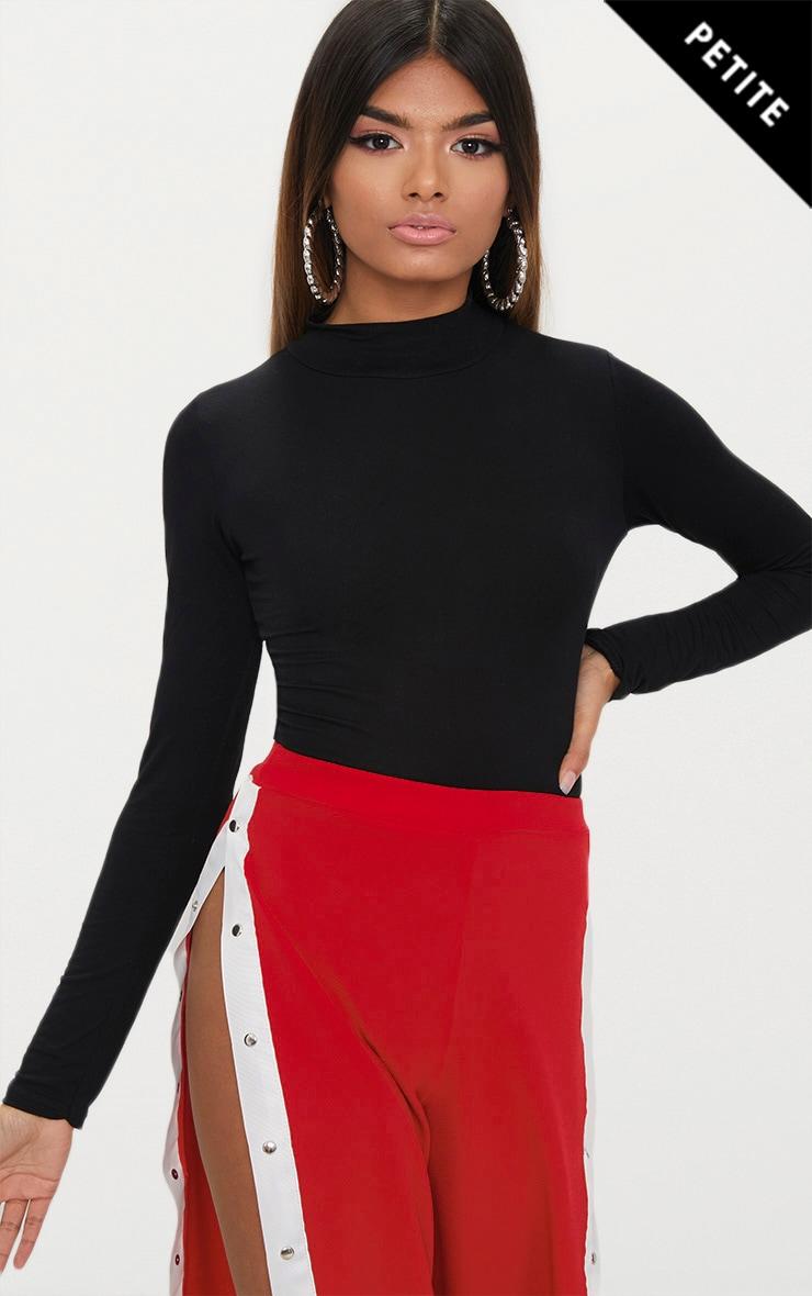 Petite Black Basic High Neck Bodysuit 1