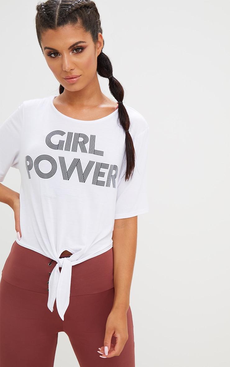 Girl Power Crop Tie Front Top White 1