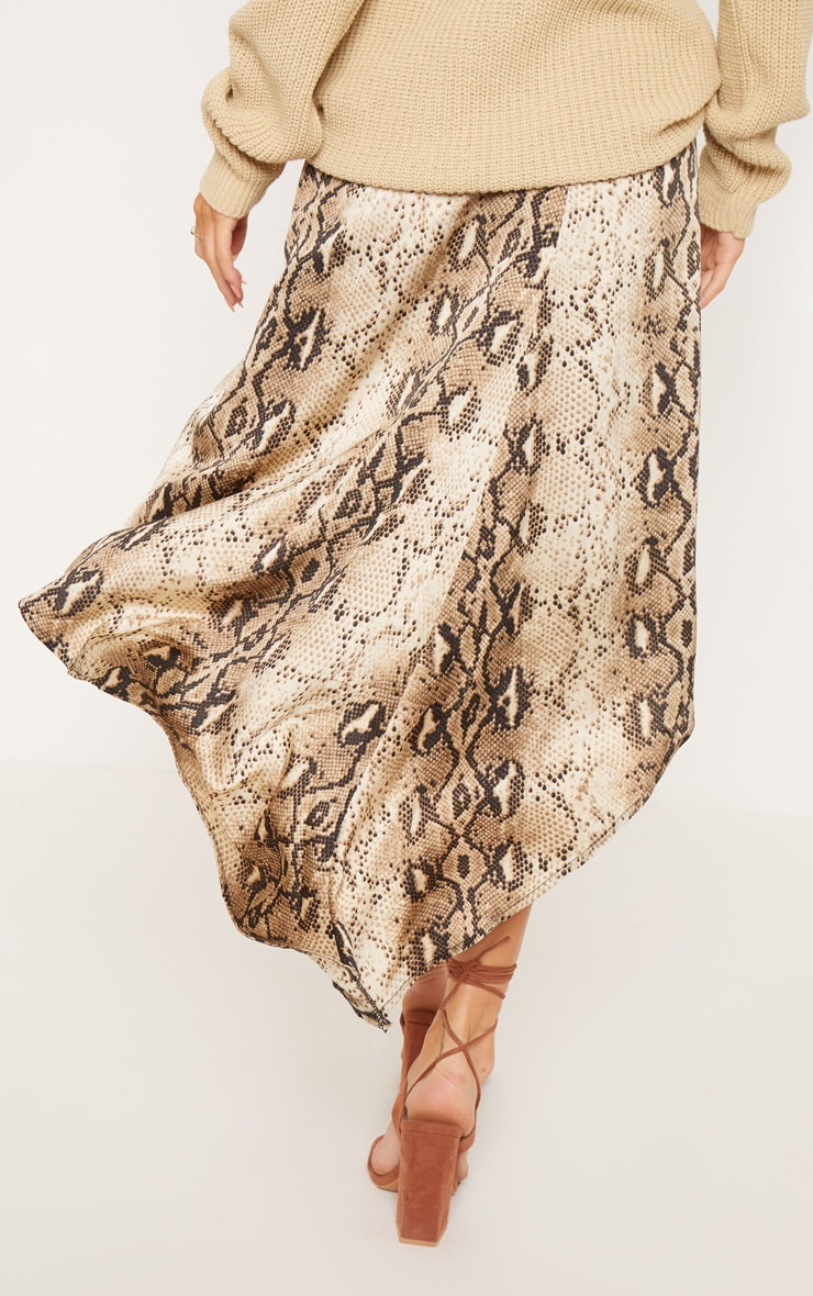 Snake Print Satin Asymmetric Skirt 4