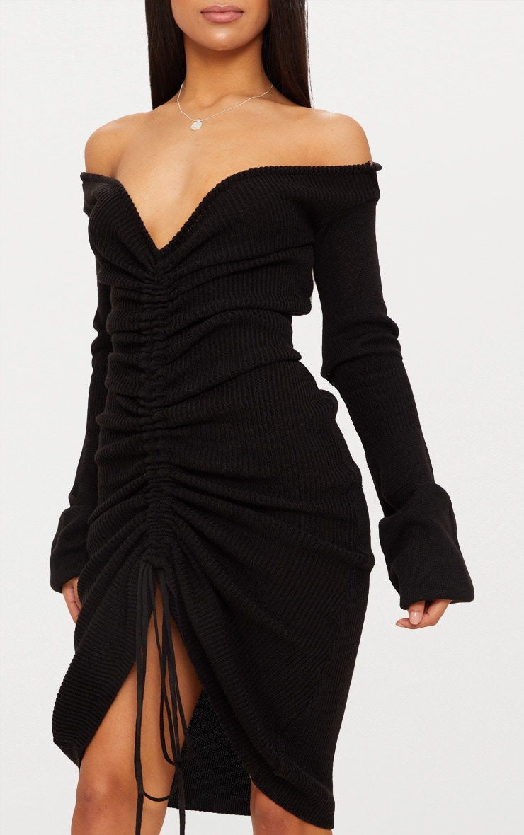 Black Ruched Knit Extreme Sleeve Midi Dress 4