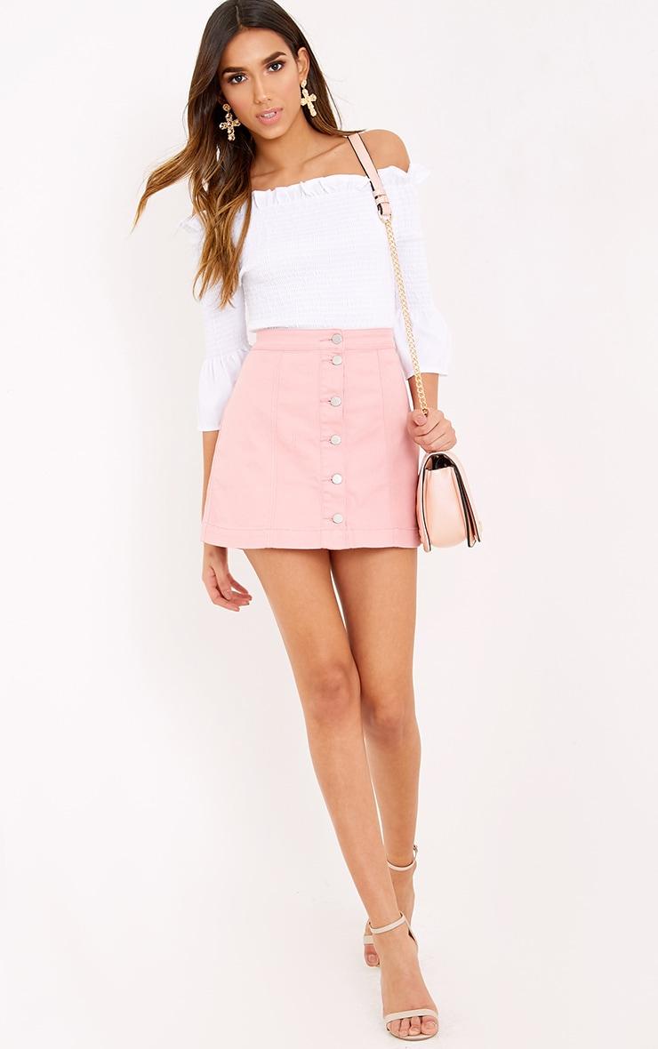 Pink Cammie Denim Mini Skirt 5