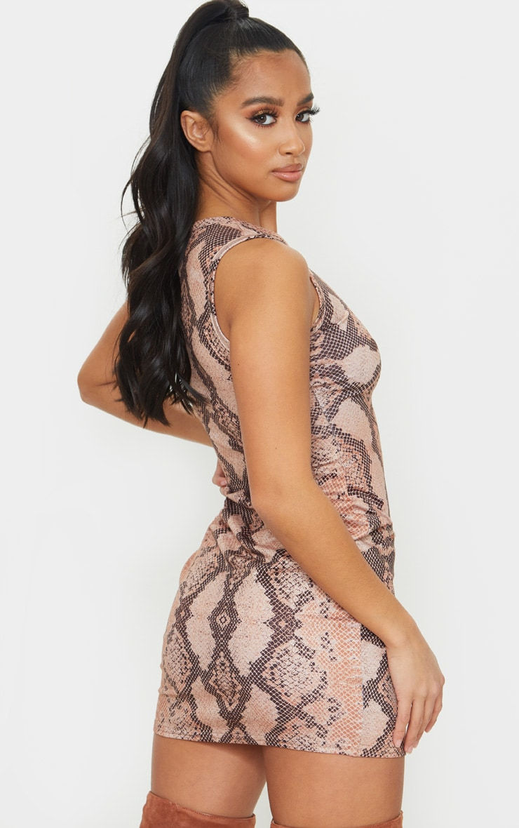 Petite Brown Snake Print Jersey Mini Dress 2