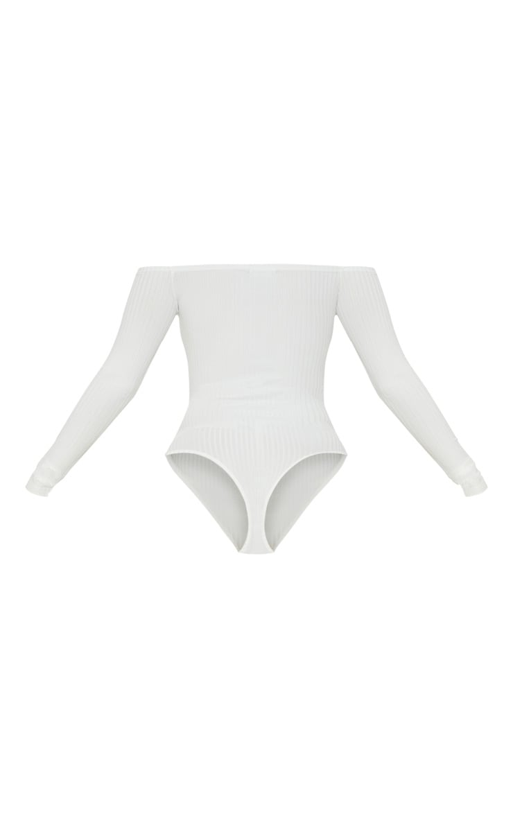 Cream Rib Bardot Long Sleeve Bodysuit 4