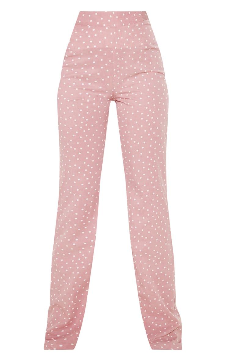 Pastel Pink Polka Dot High Waisted Wide Leg Pants 3