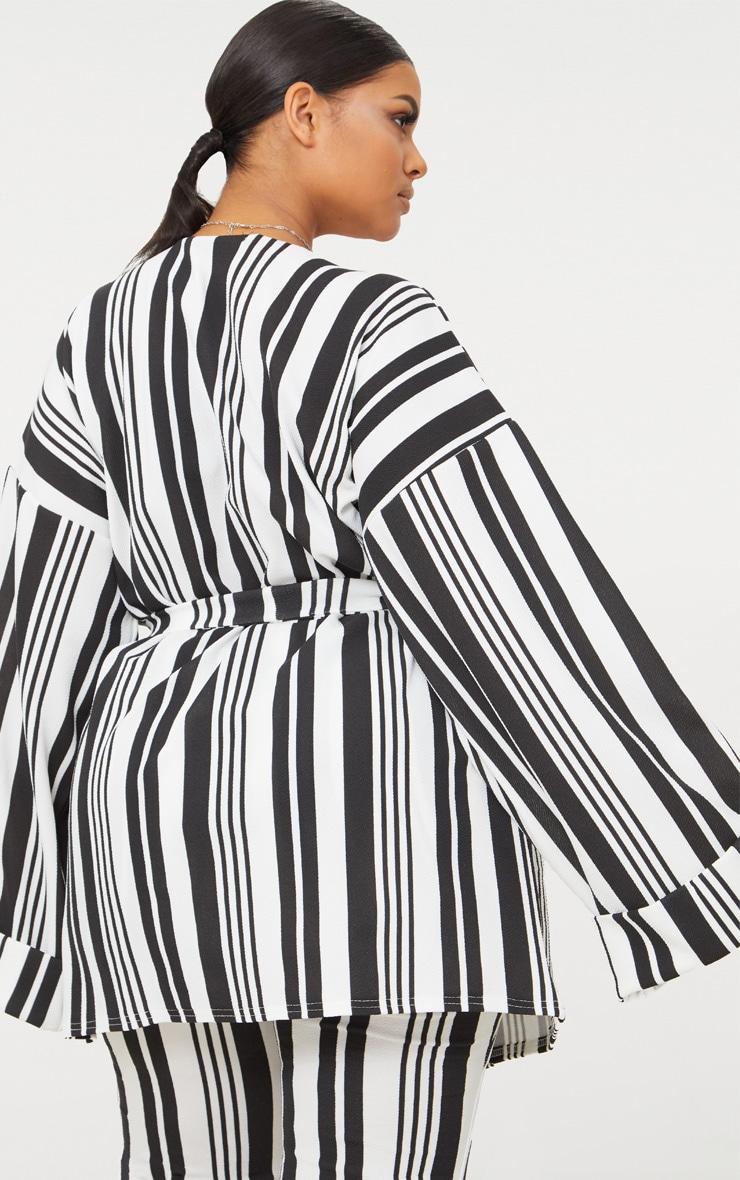 Plus Black Striped Belted Oversized Sleeve Blazer 2