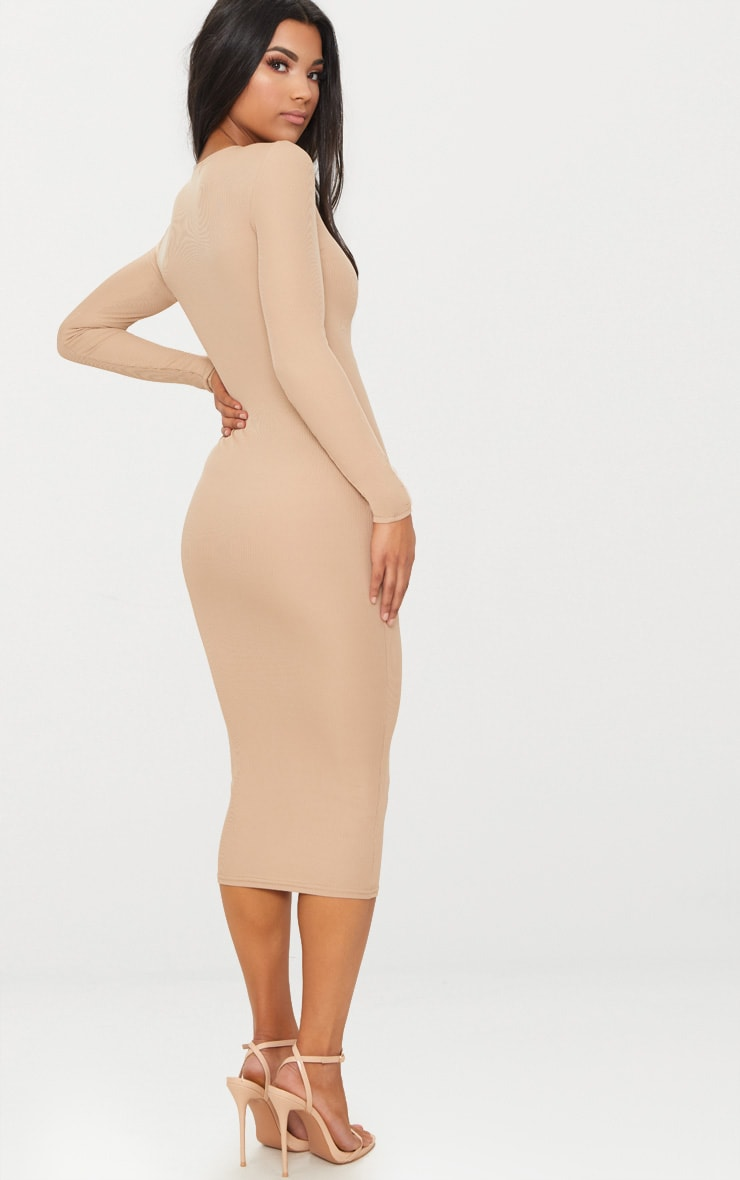 Stone Ribbed Long Sleeve Midi Dress 2