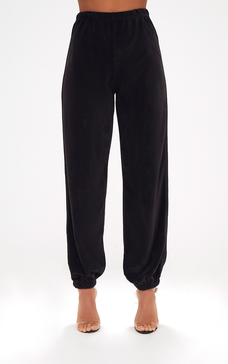 Black Velour Side Stripe Joggers  2
