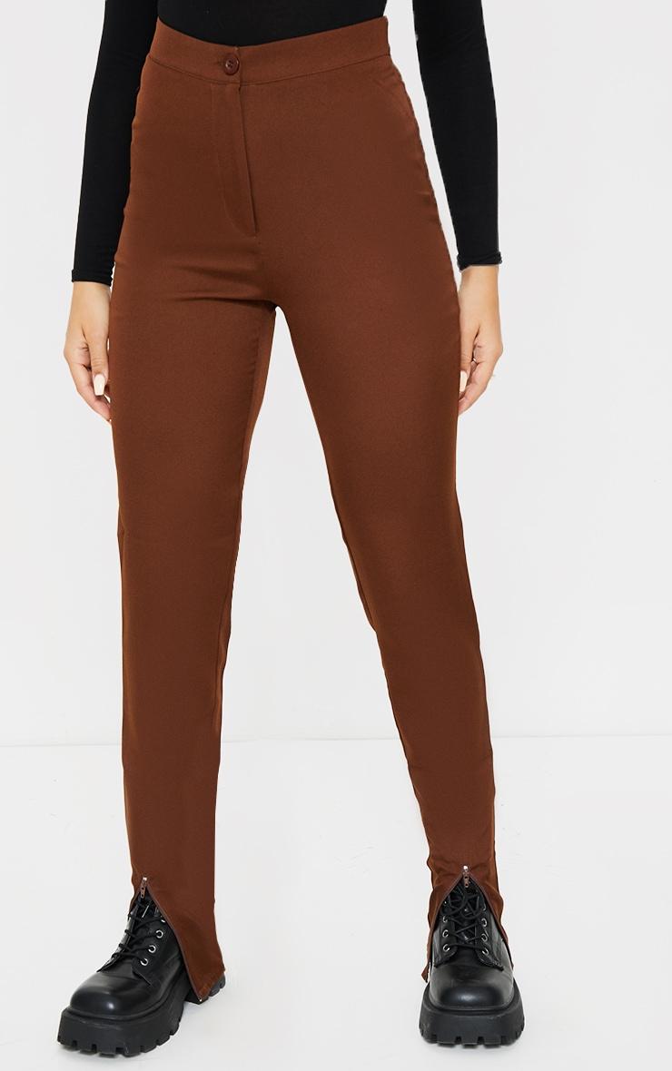 Chocolate Zip Hem Woven Skinny Trousers 2