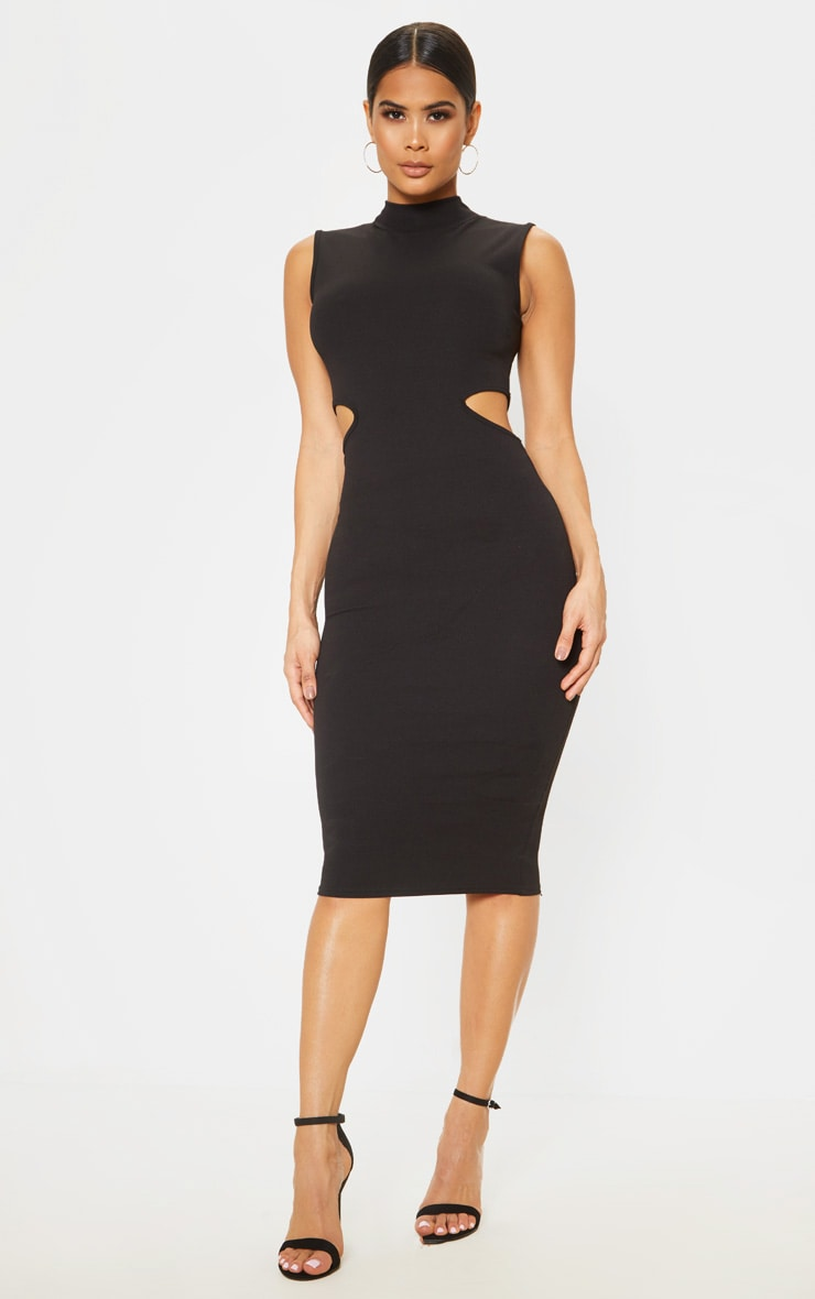 Black High Neck Waist Cut Out Sleeveless Midi Dress 1
