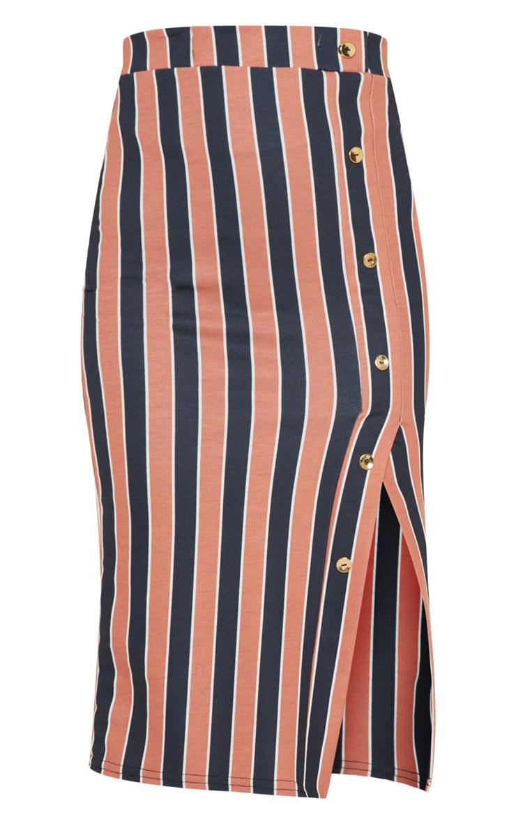 Rust Stripe Popper Front Midi Skirt 3