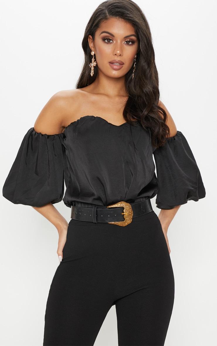 Black Satin Bardot Bodysuit by Prettylittlething