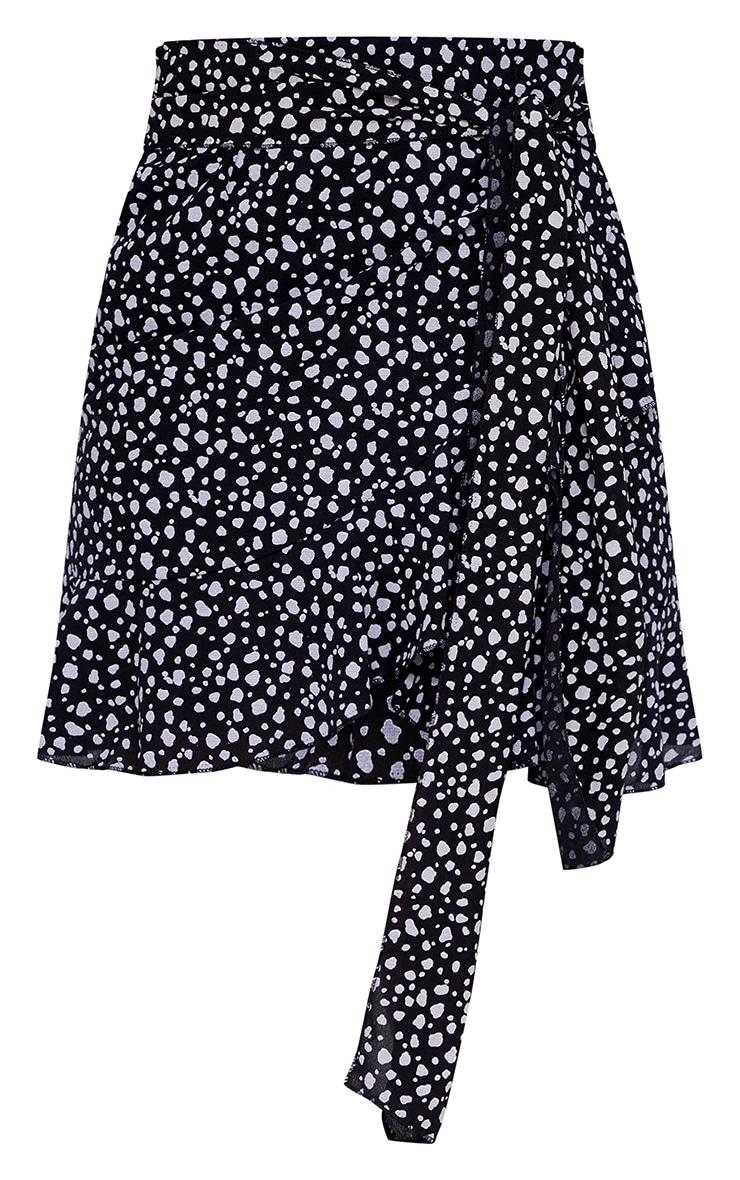 Black Dalmatian Print Tie Detail Frill Edge Wrap Mini Skirt 6