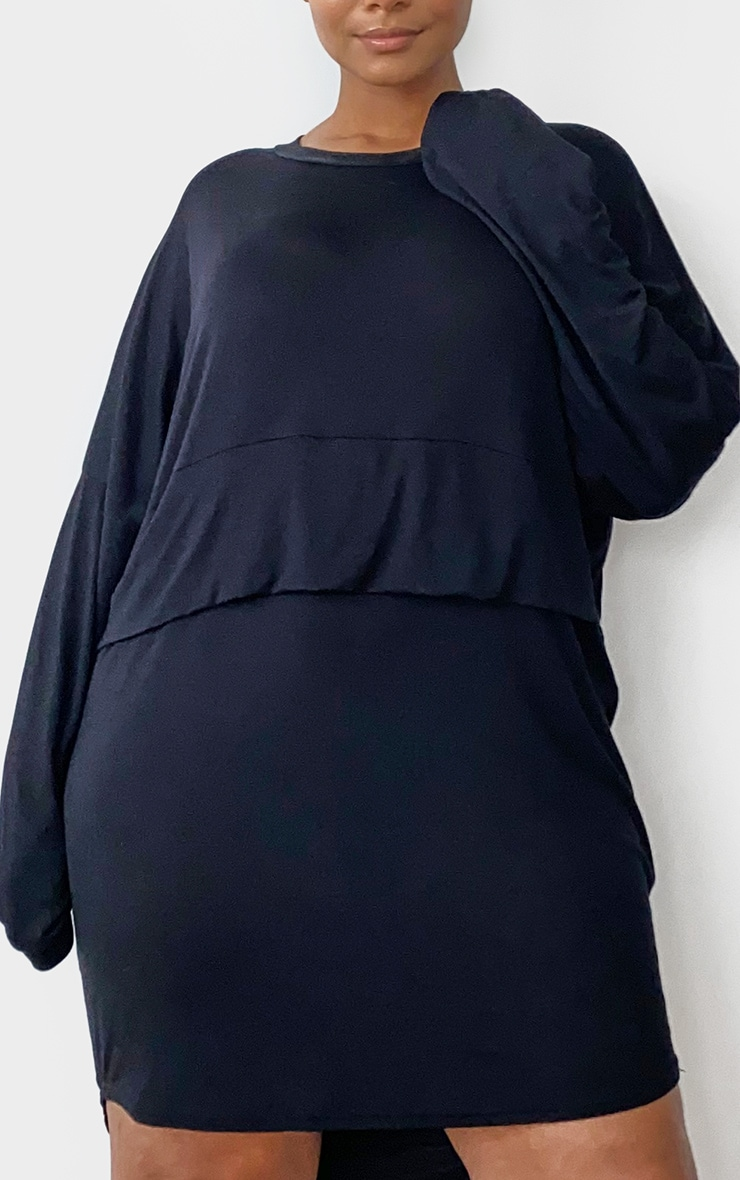 Plus Black Long Sleeve Layer Jersey T Shirt Dress 4