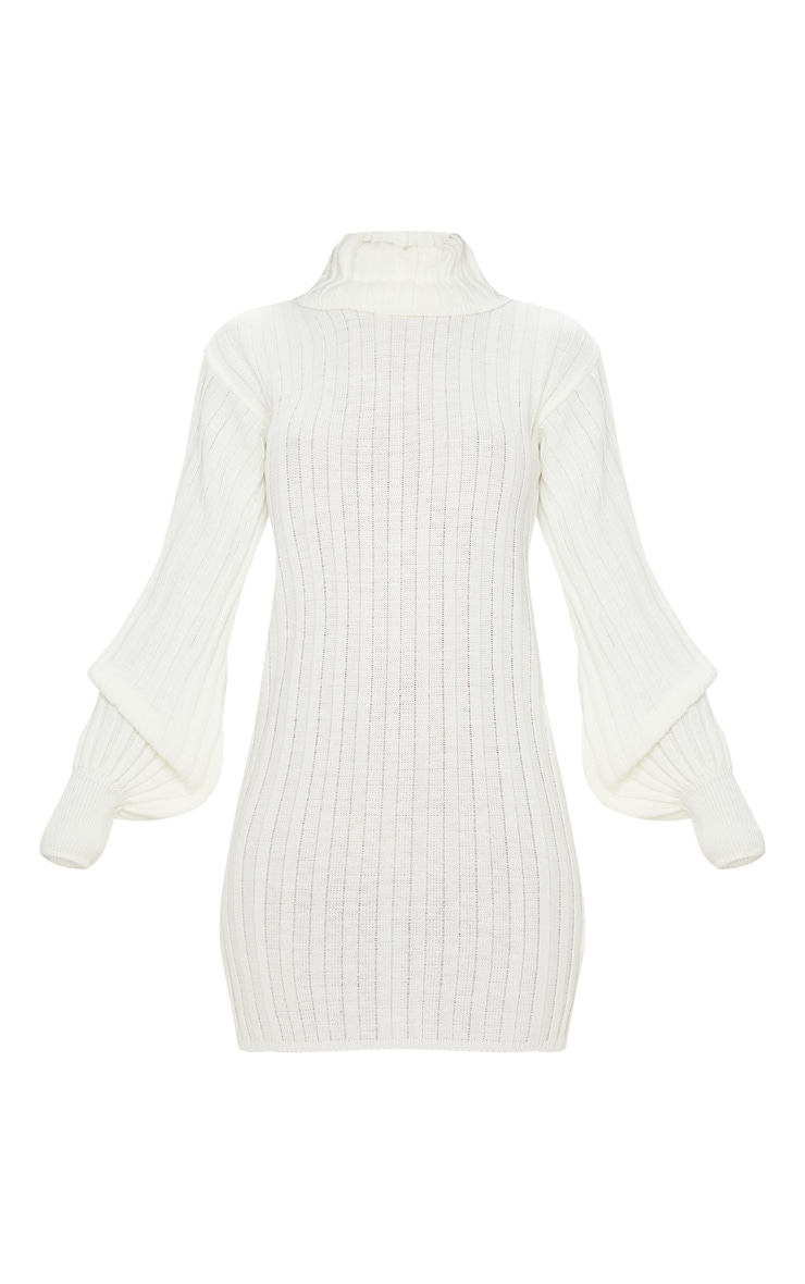 Cream Roll Neck Ribbed Knitted Sweater Dress 5