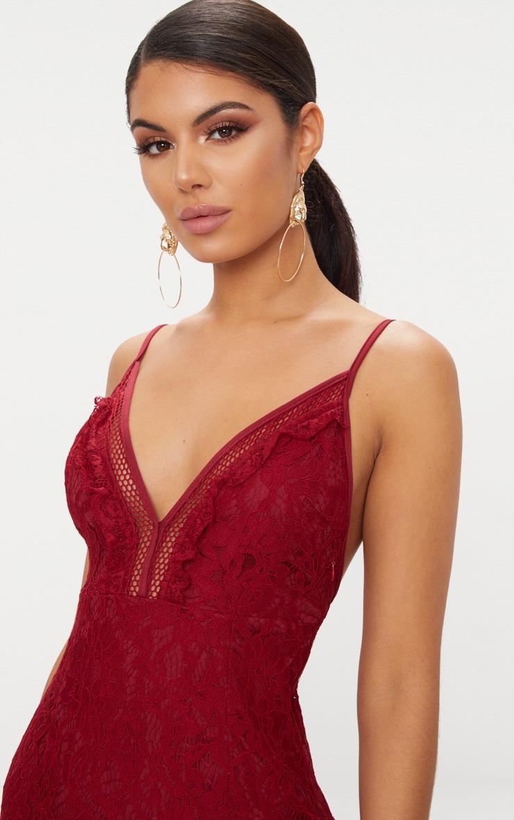 Burgundy Strappy Lace Shift Dress 5