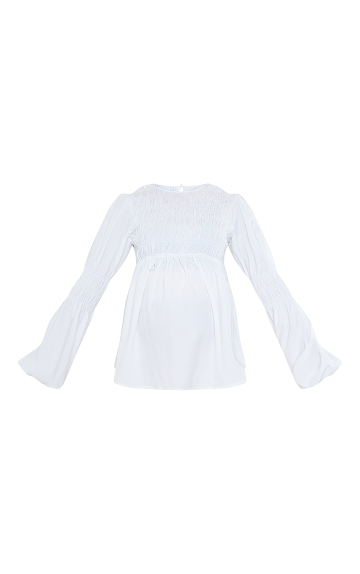 Maternity White Shirred Detail Blouse 5