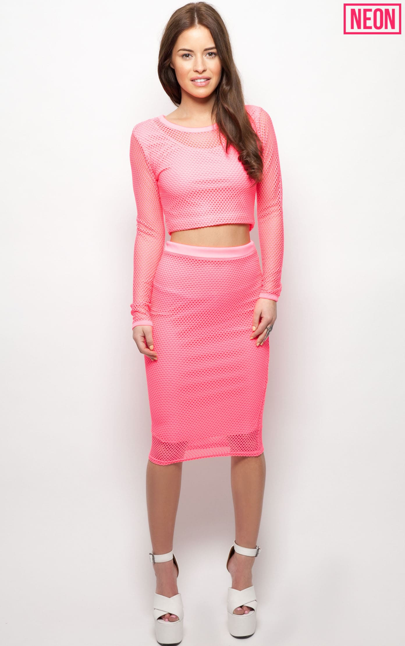 Eleanor Neon Pink Fishnet Long Sleeve Crop Top 2