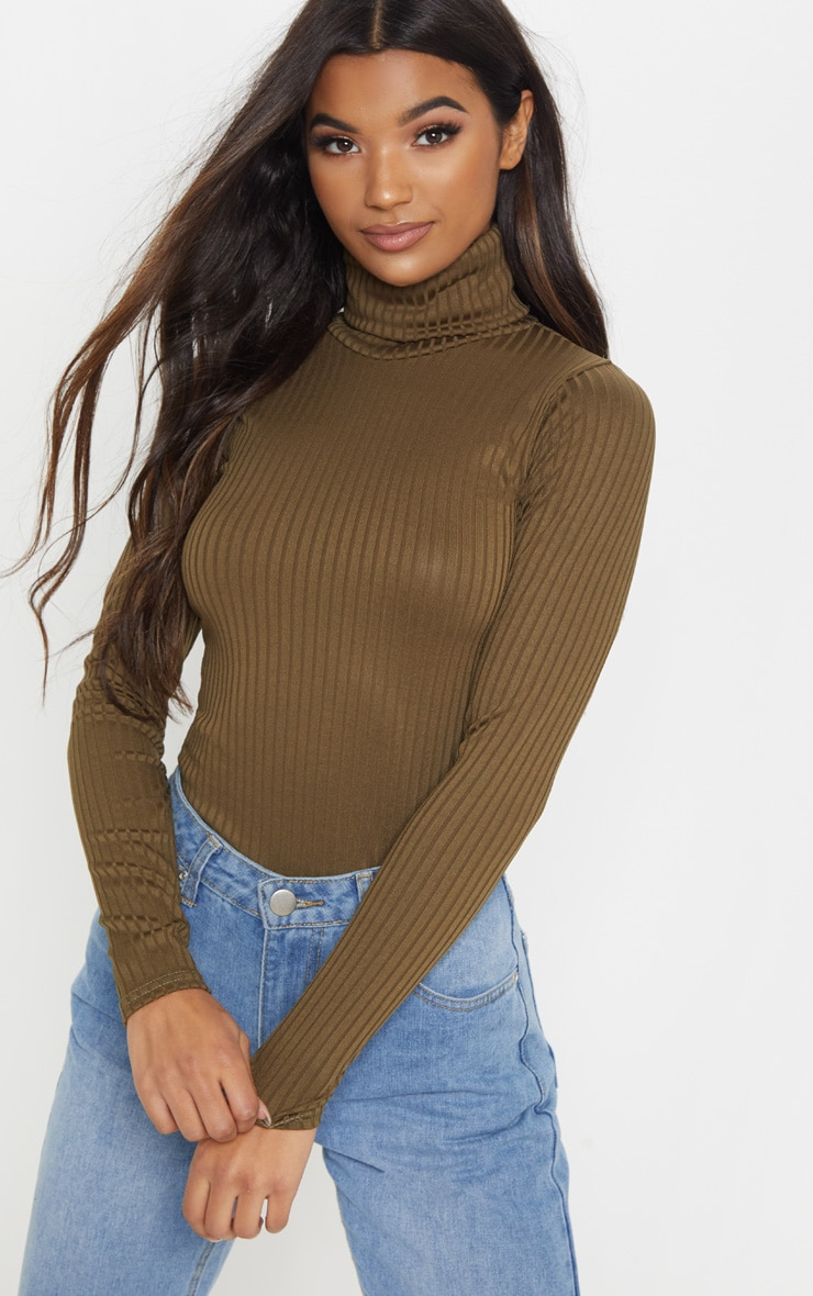 Rheta Khaki Ribbed Polo Neck Top 1