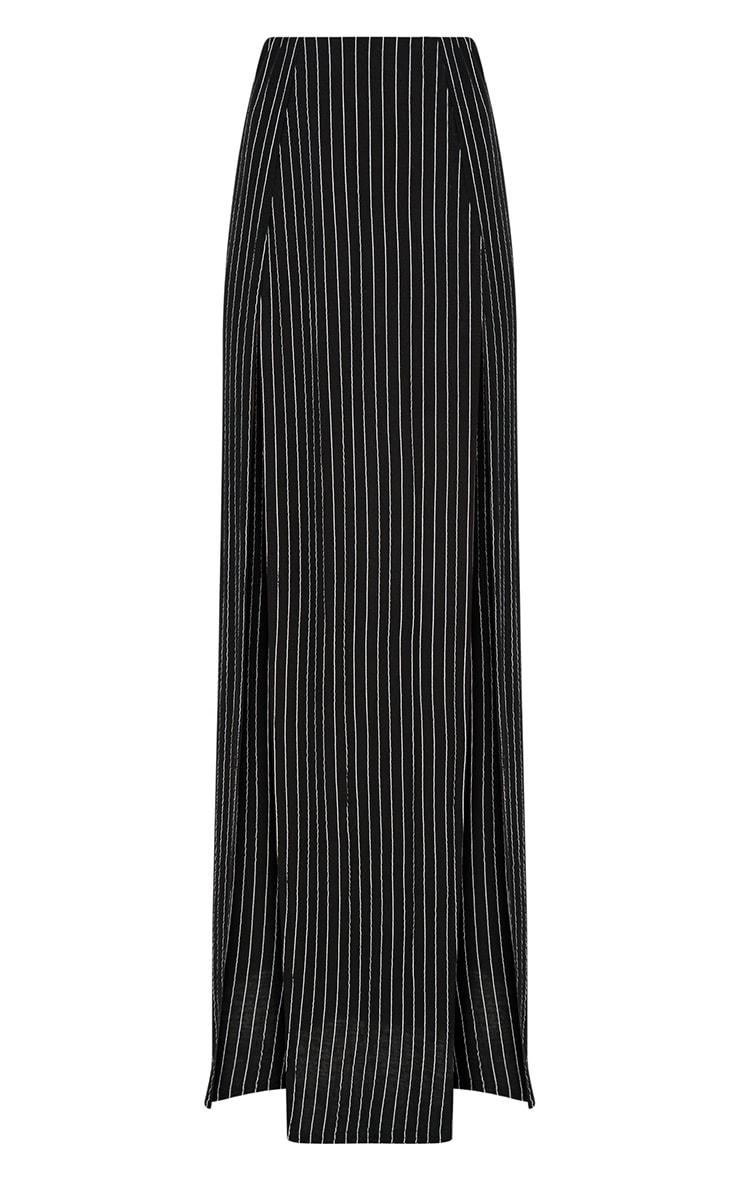 Black Pinstripe Double Split Maxi Skirt  3