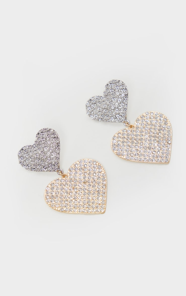 Gold and Silver Pave Double Heart Earring 3